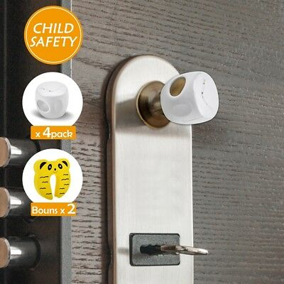 4Pcs Kids Child Baby Safety Door Lock Proof Knob Cover With Locked Toddler Guard