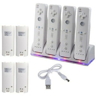 4pcs For Wii Remote Controller Rechargeable Batteries & Charger Dock Station UK