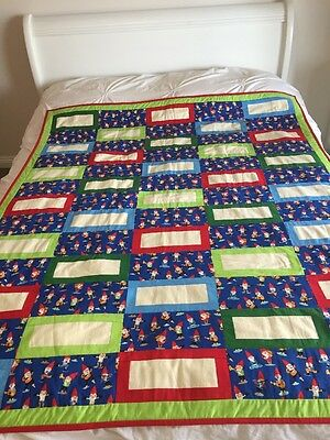 "Handmade patchwork quilt 'little Gnomes' Size 51"" X  62"""
