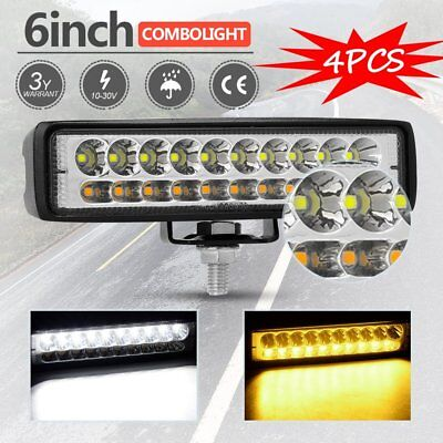 100W 6inch LED Work Driving Light Bar Cree Combo Lamp Reverse Offroad 4x4 4pcs