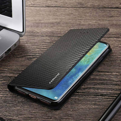 For Huawei P30 Pro P20 Smart Carbon Fiber Magnetic Leather Flip Slim Case Cover