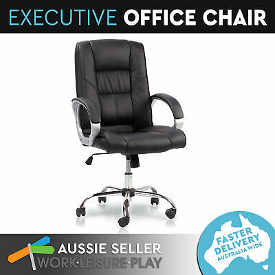 New Executive Office Computer Chair Premium PU Faux Leather High Back Work Black