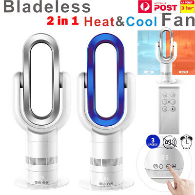 """16"""" Bladeless Rating Hot + Cool Fan Heater Low db 3 Speed Cooling Timer Remote"""
