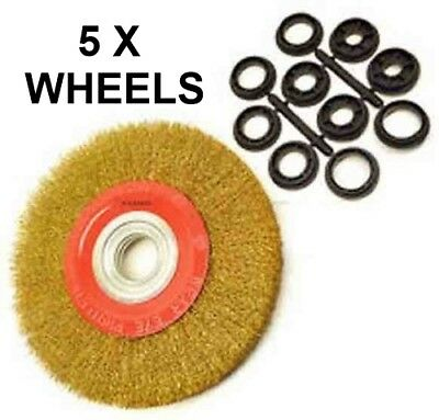 6 inch 150m Fine Wire Brush Wheel for Bench Grinder with 10pc Adaptor Rings X5