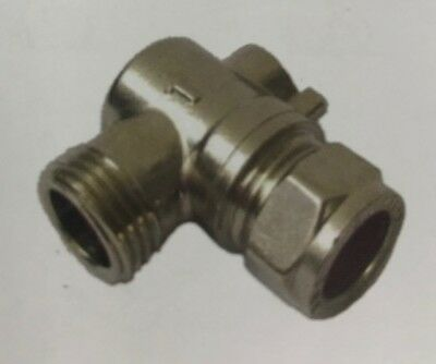 """15mm x 3/8"""" Angled Flat face Isolating Valve for Flexible Tap Connectors Grohe"""