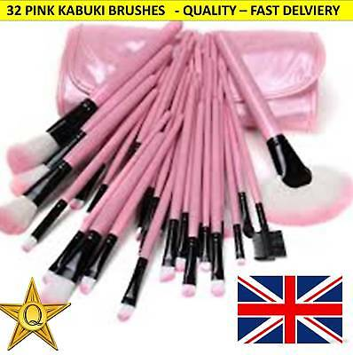 Professional 32 PCS PINK Kabuki Make Up Brushes Set Foundation Makeup⭐ VALUE⭐