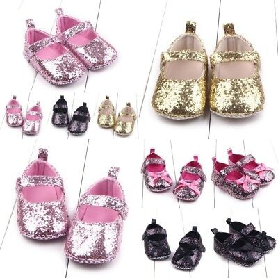 0-12M Newborn Baby Girl Sequins bow Crib Shoes Toddler Soft Sole Anti Slip Shoes