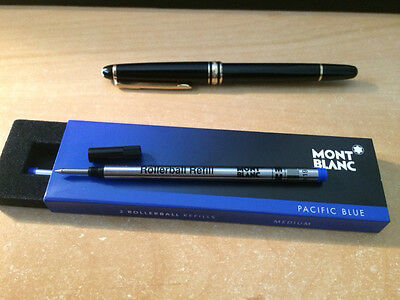 MONT BLANC Rollerball PEN REFILLS AUTHENTIC 2 pack Medium Pacific Blue from UK