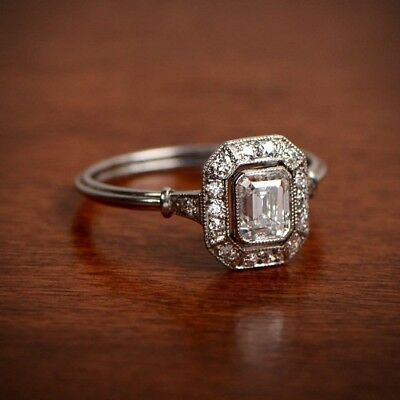 1.80CT Antique Art Deco Emerald Cut Diamond Engagement Ring 925 Sterling Silver