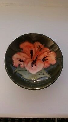 Moorcroft Pink Hibiscus on a Dark Green Pin Dish