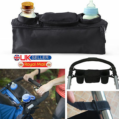 2x Baby Pram Buggy Organiser Pushchair Stroller Storage Cup Holder Bag New UK