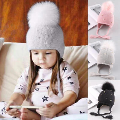 Kids Child Baby Boys Girls Pearl Beanie Hat Winter Warm Knit Fur Pom Bobble Cap