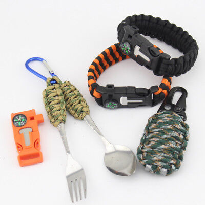 Outdoor Paracord Survival Armband Notfallausrüstun Compass Flint Fire Starter