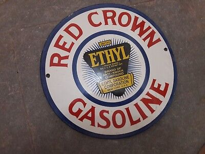 "Porcelain Red Crown Gasoline  Enamel Sign Size 12"" Inch Round"