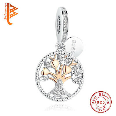 CHARM BEAD 925 Sterling Silver Authentic Rose Gold Family Tree Dangle Bracelets