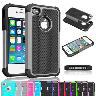 For iPhone SE 5 5S Case Hybrid Dual Layer Protective Rubber Matte Hard Cover