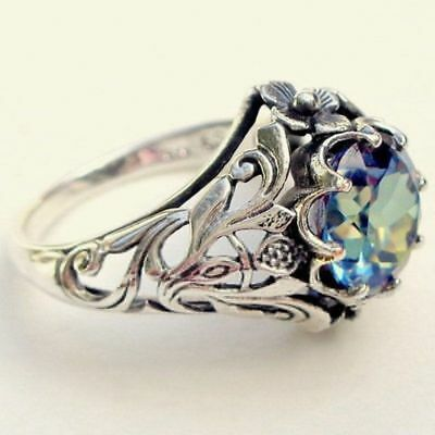 Women Antique Silver Gift Mystic Rainbow Topaz Wedding Engagement Ring Size 5-11