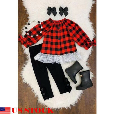 US Christmas Kids Baby Girl Long Sleeve T-shirt+Legging Pant Clothes Outfit Suit