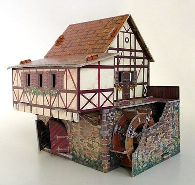 Cardboard model kit. The medieval town. Water mill. Wargame landscape. 3D Puzzle