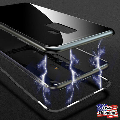 Magnetic Metal Tempered Glass Cover Case For Samsung Galaxy Note 9/8 S9/S8+ Plus