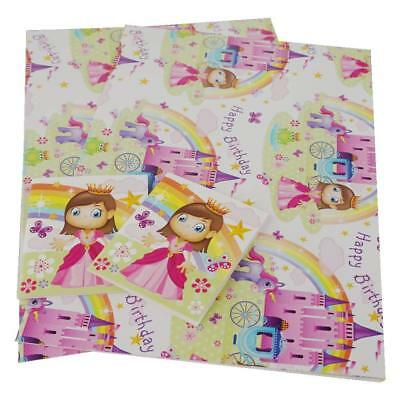 2 SHEETS GIRLS Happy Birthday Princess Castle Wrapping Paper