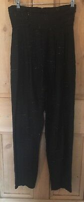 Vtg 80s Black Gold Sparkle Lurex High-waisted Alexa Rock Chick Trousers S 8 10