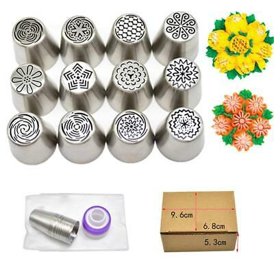 12PCS/Set Russian Flower Stainless Steel Icing Piping Nozzles Cake Baking Tools