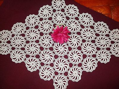 Gorgeous Vintage Handmade  Crochet Rhomboid Tablecloth