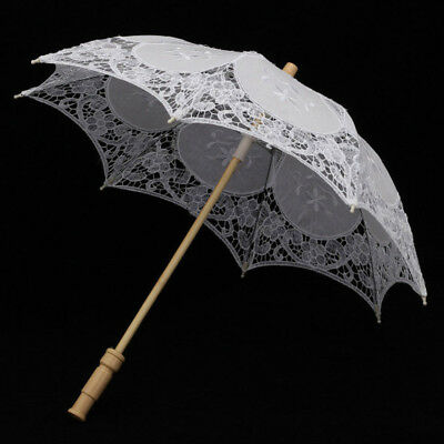 Charm White Lace Parasol Embroidered Umbrella Bridal Wedding Party Decor 23inch