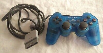 Official Sony Playstation 1 DualShock Controller Clear Blue 2 PS1 PS2 Great Cond