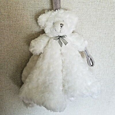Blankets and Beyond Baby Lovey Teddy Bear Security Blanket White Rosette Gray
