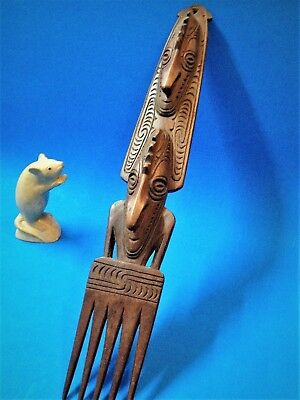 1980's PNG Papua - Carved Ceremonial Comb / Wall Hanging - 44cm Tall