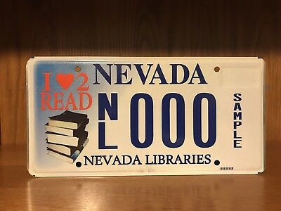 Sample License Plate Nevada I LOVE 2 READ LIBRARIES LIBRARY NL000 BOOKS READING