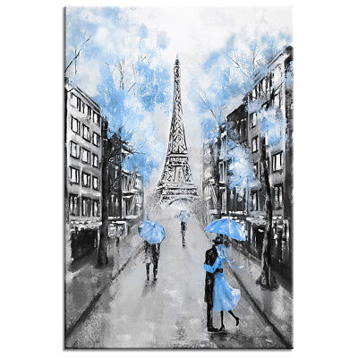 HD Canvas Print Poster Wall Art Eiffel Tower in Blue Oil Painting Decor Picture