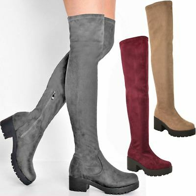 Womens Ladies Flat Low Heel Chunky Stretch Thigh Over The Knee Boots Zip Up Size
