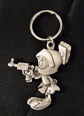 Solid Pewter Silver MARVIN the MARTIAN Looney Tunes Figurine Silver Keychain