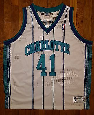 99aad8dcf Authentic Starter 1997-98 Charlotte Hornets Glen Rice Home White Jersey 54