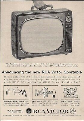 RCA Victor Sportable TV New Kind of Portable Vintage Ad 1959