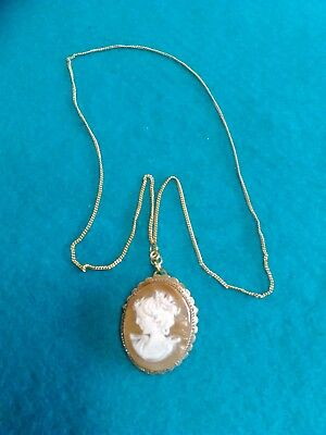 Gilt Metal Cameo Pendant/Brooch with a Silver Gilt Chain (1449)