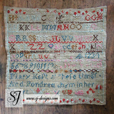 "c1830 ""Mary"" schoolgirl sampler with Bible verse crowns and alphabets 10"" square"