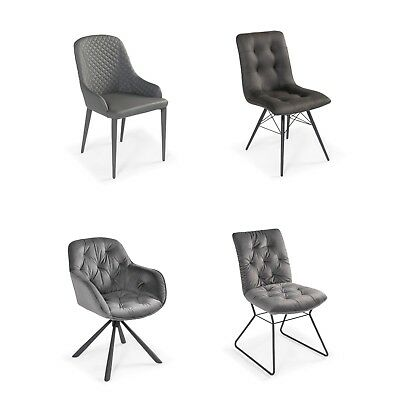 GF800 - New Modern Luxury Grey Upholstered Designer Dining Chairs - Sets