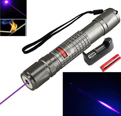 Newly  20 Miles Blue Purple 405nm Laser Pointer Pen Visible Beam+18650+Charger