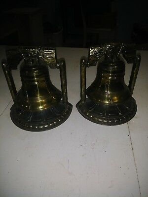 Pair of VTG Philadelphia Liberty Bell Bookends Brass Tone Finish Marked 1974 SCC