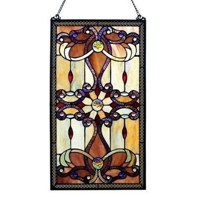 """PAIR  Stained Glass Victorian Design Tiffany Style Window Panels  15"""" W x 26"""" T"""