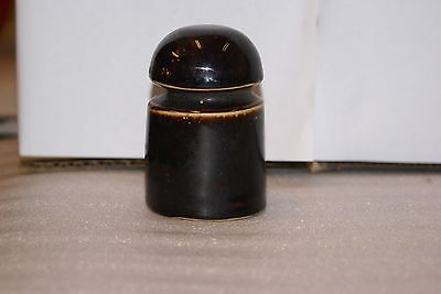 Brown Unmarked Porcelain  Insulator 3 1/2in Tall