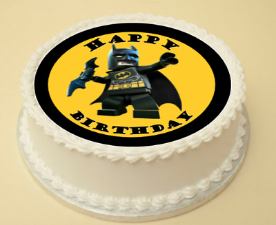 Fabulous Lego Batman Edible Birthday Cake Cupcake Topper Decoration Wafer Funny Birthday Cards Online Overcheapnameinfo