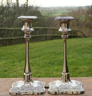 Vintage Silver Plate Candlesticks * French Rococo Shabby Chic Christmas Table