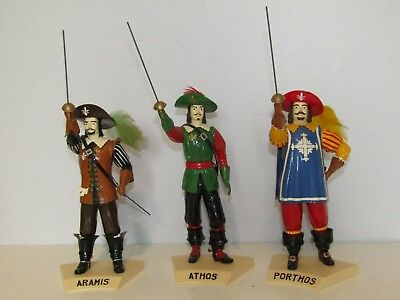 Three Musketeers 1958 Aurora plastic Model Kits Athos Porthos Aramis Very Nice!