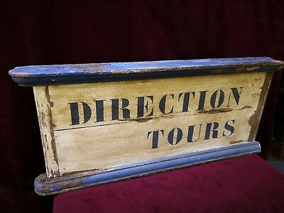 """Vintage French """"DIRECTIONS TOURS"""" Blue & White Painted Wooden Sign - 86cm x 38cm"""