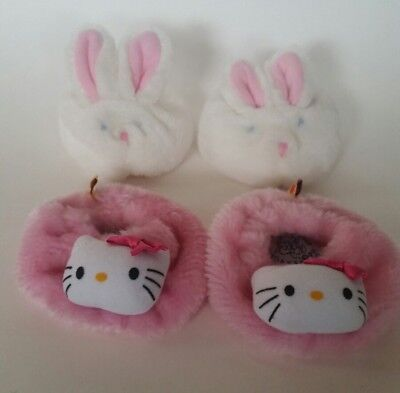 Build A Bear Pink Hello Kitty Shoes Fuzzy Slippers AND Bunny Shoes Slippers LOT